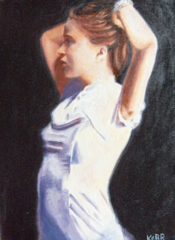 'Girl in white' painting by Pheona