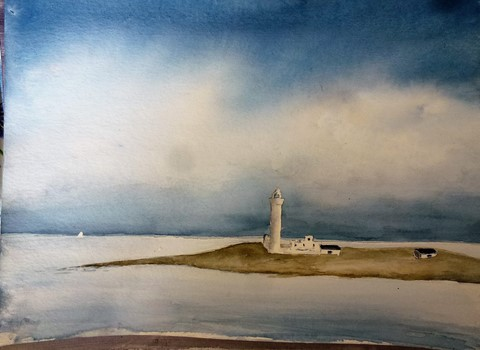 Watercolour of lighthouse